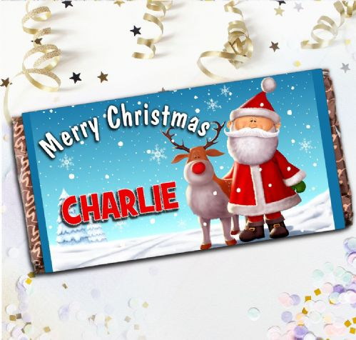 Personalised Merry Christmas Milk Chocolate Bar - Christmas Stocking Filler Gift N121